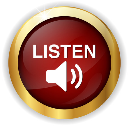 live stream listening: Listen button Stock Photo