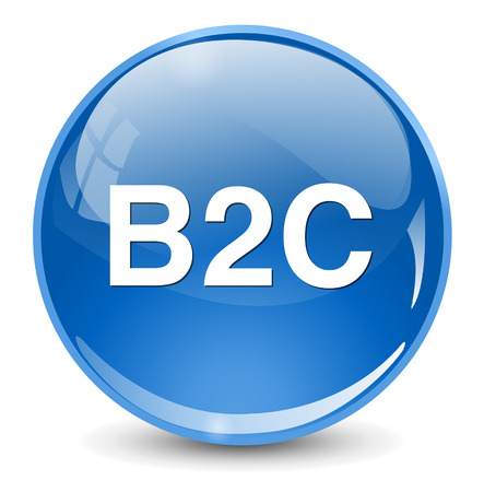 b2c: b2c ( business to consumer ) button Illustration