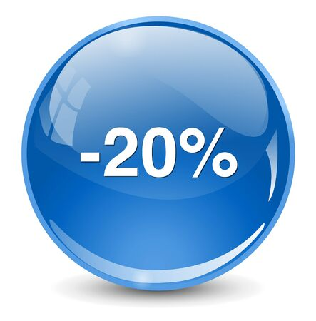 off on: 20 percent off button Illustration