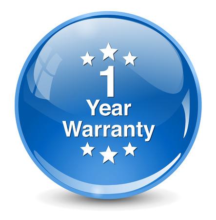 1 year: 1 year warranty button Illustration