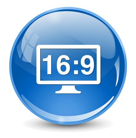 16 9 display: 16 9 display  button Illustration