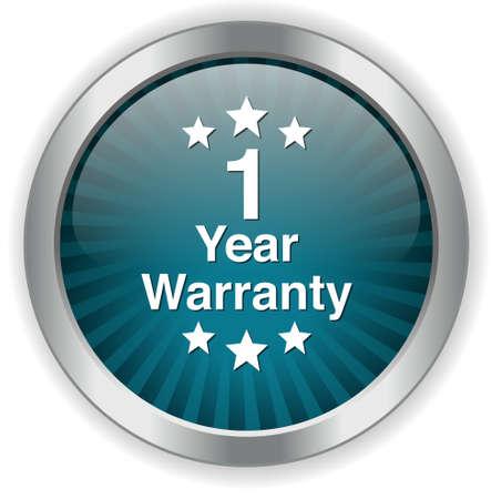 one year warranty: 1 year warranty button Illustration