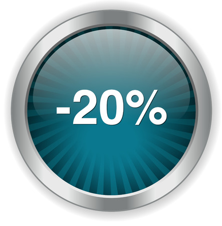 on off button: 20 percent off button Illustration