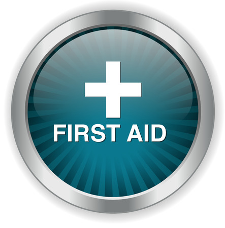 safety first: First aid medical button sign isolated on white.