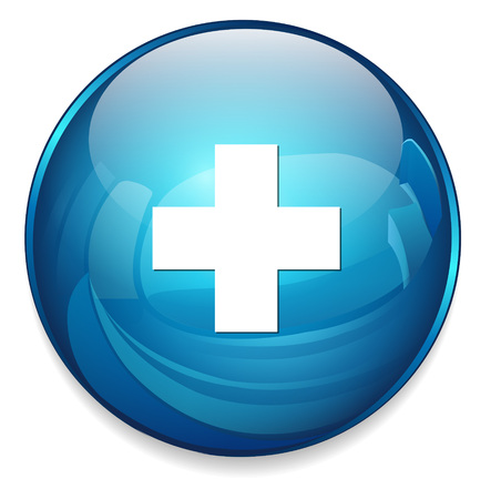 emergency medical: cross button icon Illustration