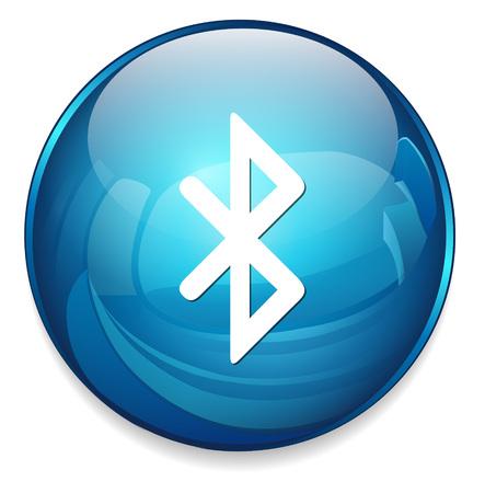 white symbol: bluetooth icon  button
