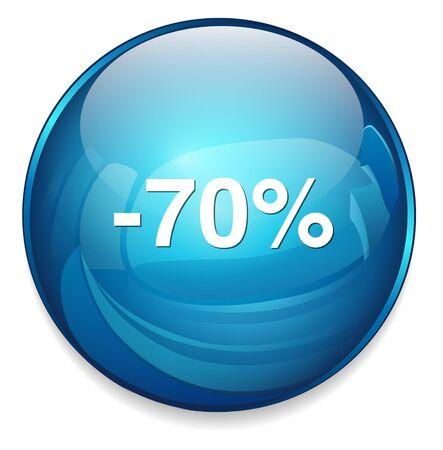 70: 70 percent off button