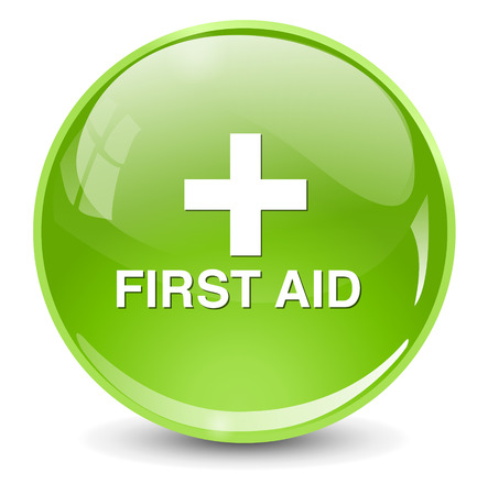 first aid sign: First aid medical button sign isolated on white.