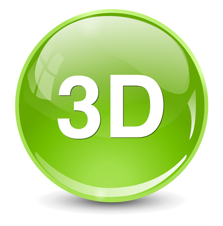 stereoscopic: 3d word button Illustration