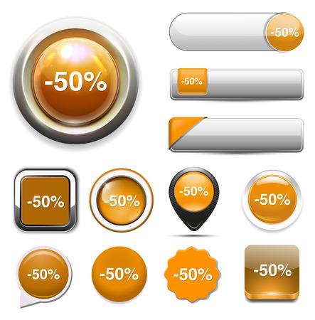50: 50%  percent off  button