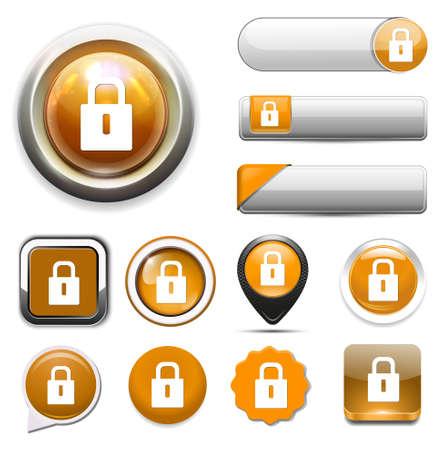 web button: lock web button Illustration
