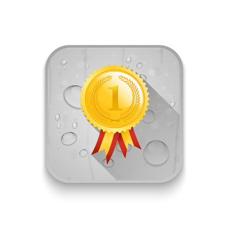 Number One winner ribbon With long shadow over app button