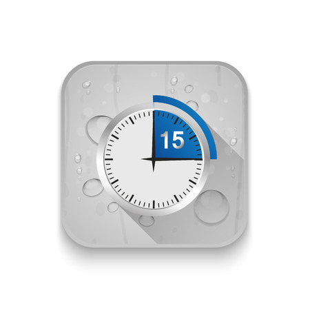 pm: Clock 15 Minutes To Go With long shadow over app button Illustration
