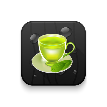 Tea cup illustration With long shadow over app button Illustration