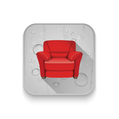 leather armchair: leather armchair With long shadow over app button