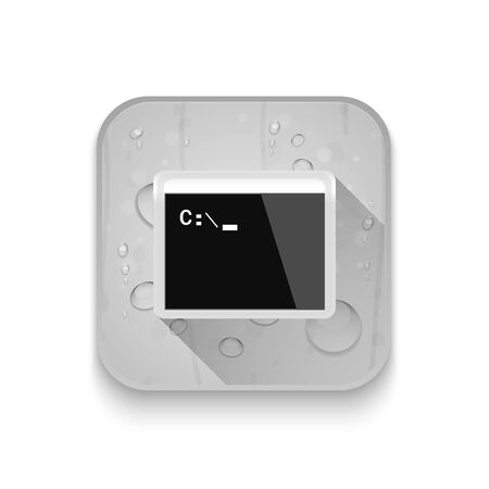 computer programming: computer programming window With long shadow over app button Illustration