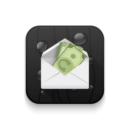 path to success: money in an envelope, Dollar version With long shadow over app button