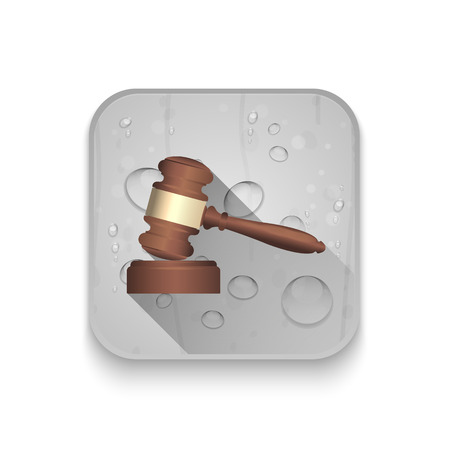soundboard: A wooden judge gavel and soundboard With long shadow over app button