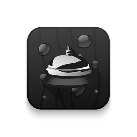 service bell: service bell icon With long shadow over app button