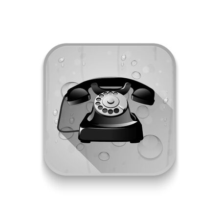 old telephone: old telephone With long shadow over app button Illustration