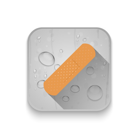 long recovery: adhesive plaster icon With long shadow over app button Illustration
