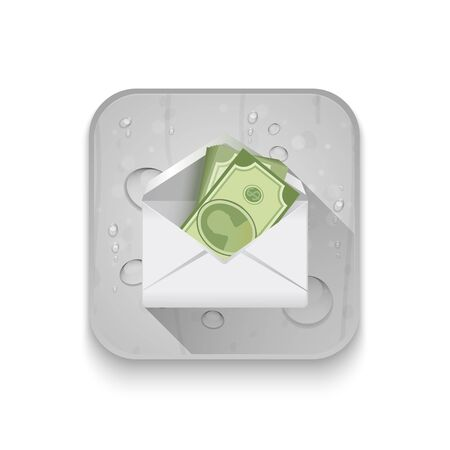 path to wealth: money in an envelope, Dollar version With long shadow over app button