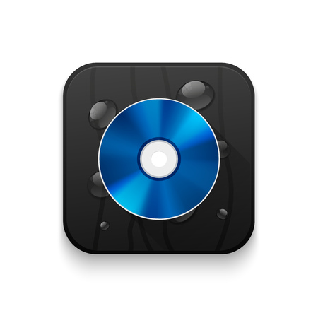 blu ray: blue ray disc icon With long shadow over app button Illustration