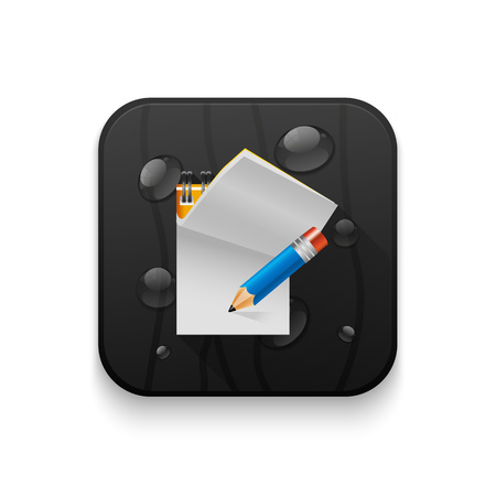 Document icon notes With long shadow over app button