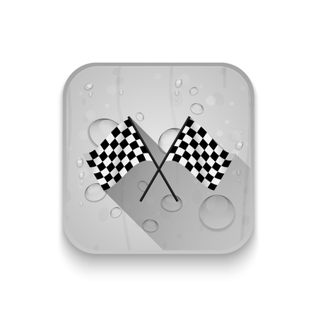 karting: Black and white leather flags football (soccer) or racing flags With long shadow over app button