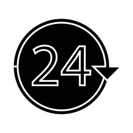 non: 24 h non stop icon Illustration