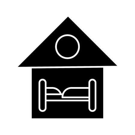 single bed accommodation icon Stok Fotoğraf - 80761508