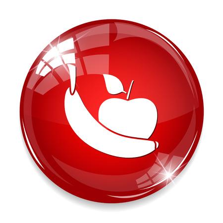 food waste: apple and banana icon Illustration