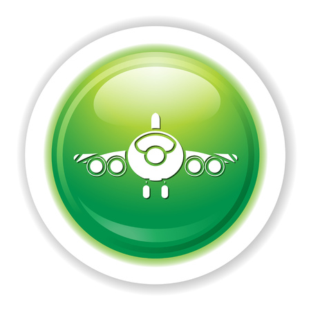 An airplane icon button in green. Illustration