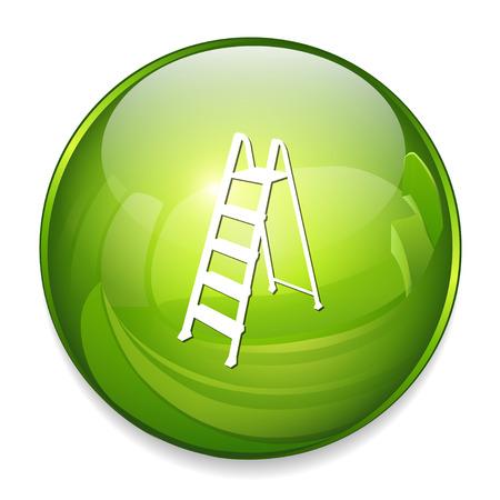 2 steps ladder icon in green. Illustration