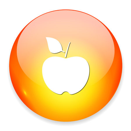 An apple icon button. Illustration