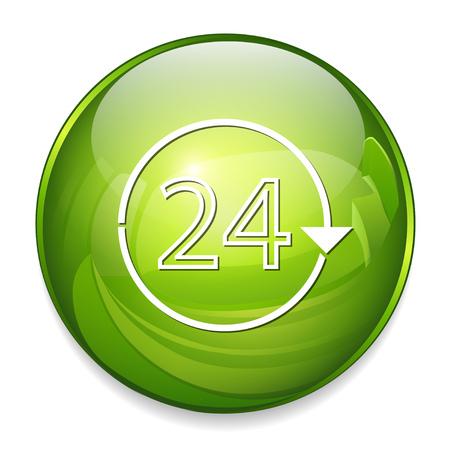 24 h non stop icon Illustration