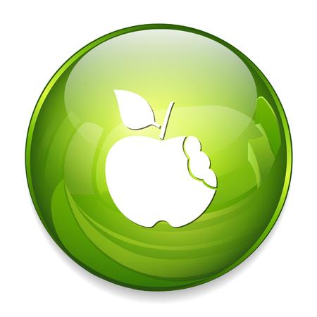 bitten: bitten apple icon Illustration
