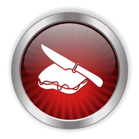 butter knife: chocolate spread on bread icon Illustration