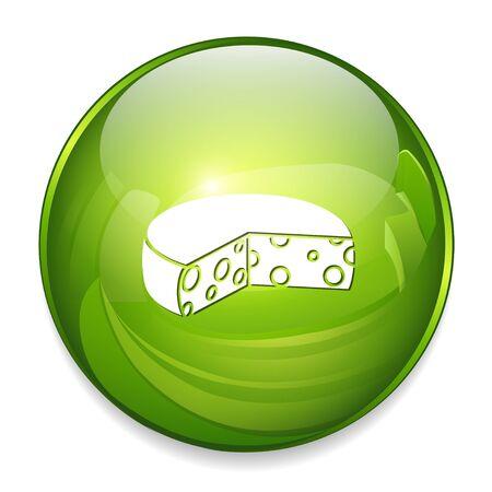 cheddar: cheese round icon Illustration