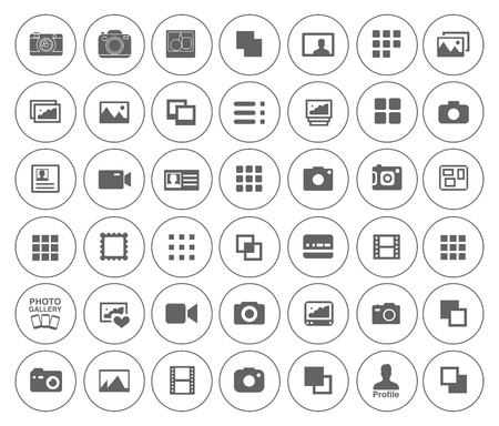 An equipment for Photography icons set - digital camera illustrations - photo