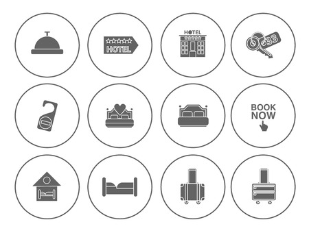 Various Hotel service set - travel sign and symbols  for vacation icons
