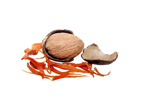 mace: Whole nutmeg broken open with broken mace and seed case, isolated on a white background