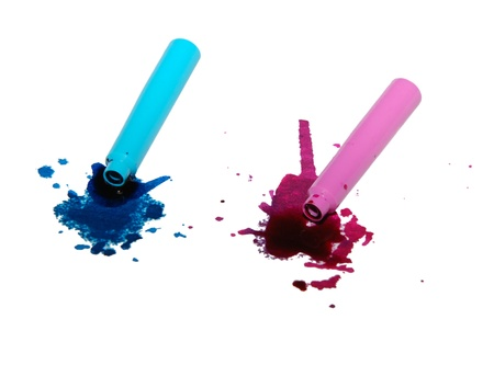 Spilled blue and pink ink spatter from pen cartridges photo