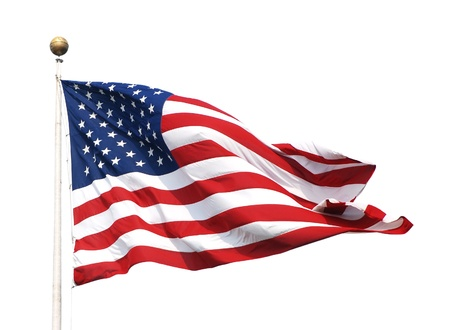 red flag: The American flag - the Stars and Stripes - isolated on a white background Stock Photo