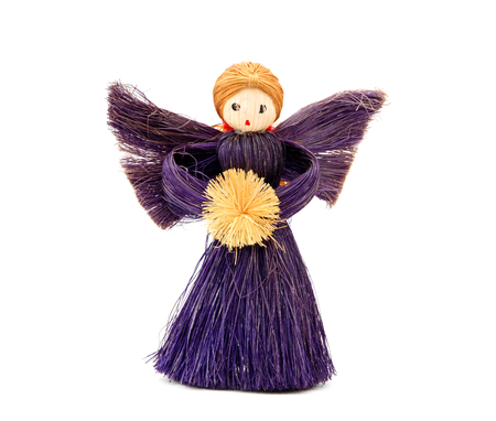 Handmade straw Christmas angel - festive decoration photo