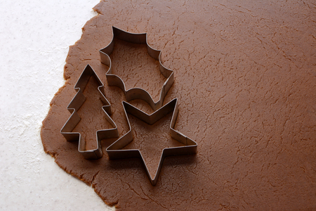 Cutting out Christmas tree, holly leaf and star shapes from gingerbread dough photo