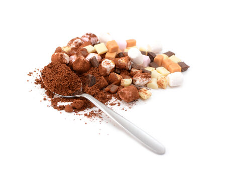Spoonful of cocoa with marshmallows, fudge and caramel pieces for hot chocolate, isolated on a white background photo