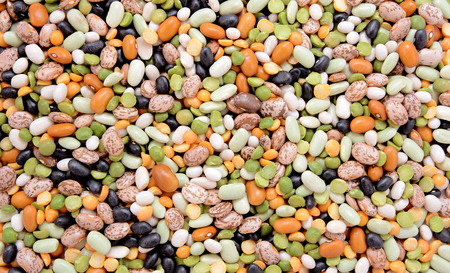 Mixed dried beans - black turtle beans, flageolet beans, pinto beans, brown beans, haricot beans, green split peas and yellow split peas - abstract background texture photo
