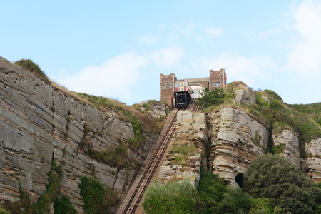 hastings: East Hill Cliff funicular railway operating in summertime in Hastings, England