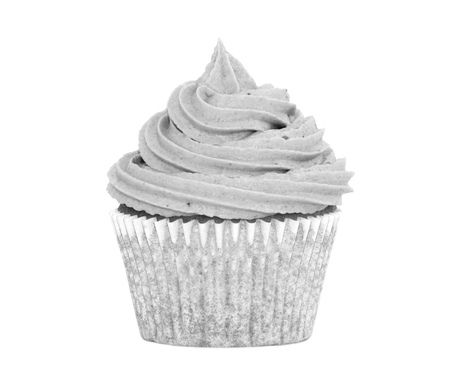 Delicious fresh cupcake with a swirl of icing on top - monochrome image photo